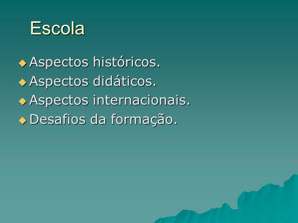 Escola  Aspectos históricos.  Aspectos didáticos.  Aspectos internacionais.  Desafios da formação.