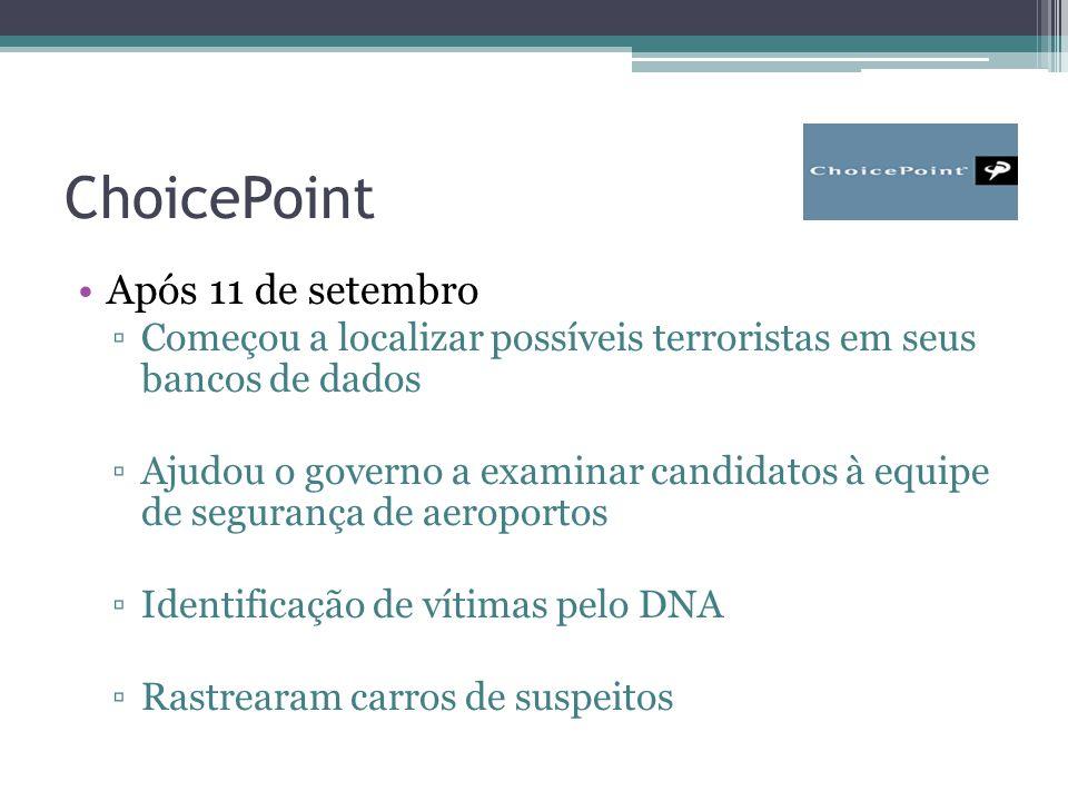 ChoicePoint Após 11 de setembro ▫Começou a localizar possíveis terroristas em seus bancos de dados ▫Ajudou o governo a examinar candidatos à equipe de segurança de aeroportos ▫Identificação de vítimas pelo DNA ▫Rastrearam carros de suspeitos