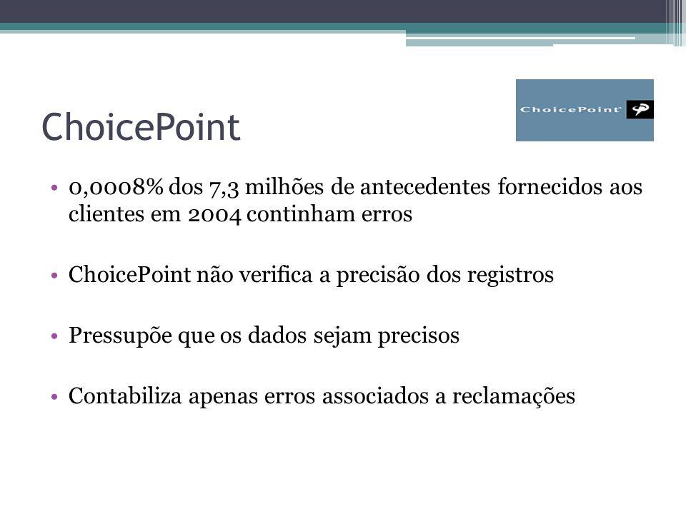 ChoicePoint 0,0008% dos 7,3 milhões de antecedentes fornecidos aos clientes em 2004 continham erros ChoicePoint não verifica a precisão dos registros Pressupõe que os dados sejam precisos Contabiliza apenas erros associados a reclamações