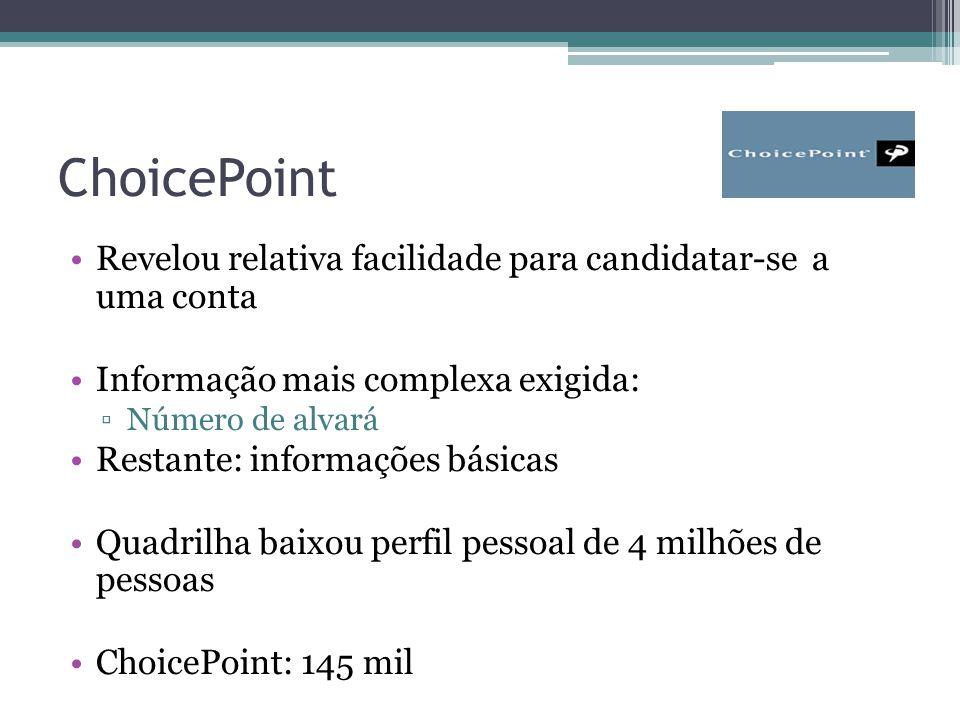 ChoicePoint Revelou relativa facilidade para candidatar-se a uma conta Informação mais complexa exigida: ▫Número de alvará Restante: informações básicas Quadrilha baixou perfil pessoal de 4 milhões de pessoas ChoicePoint: 145 mil