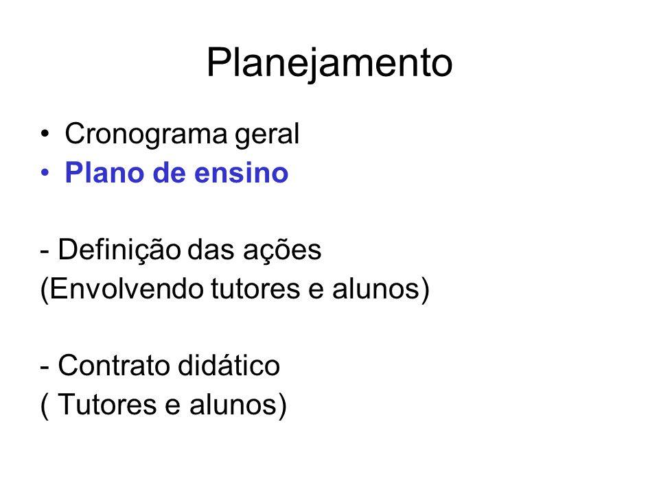 Planejamento Cronograma geral Plano de ensino - Definição das ações (Envolvendo tutores e alunos) - Contrato didático ( Tutores e alunos)