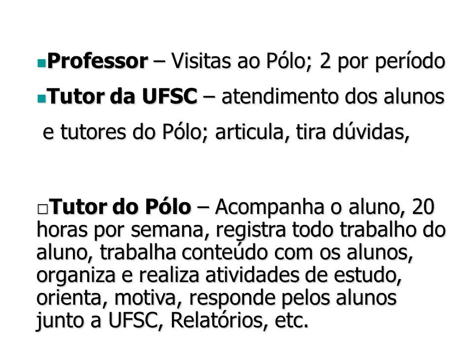 Professor – Visitas ao Pólo; 2 por período Professor – Visitas ao Pólo; 2 por período Tutor da UFSC – atendimento dos alunos Tutor da UFSC – atendimento dos alunos e tutores do Pólo; articula, tira dúvidas, e tutores do Pólo; articula, tira dúvidas, □Tutor do Pólo – Acompanha o aluno, 20 horas por semana, registra todo trabalho do aluno, trabalha conteúdo com os alunos, organiza e realiza atividades de estudo, orienta, motiva, responde pelos alunos junto a UFSC, Relatórios, etc.