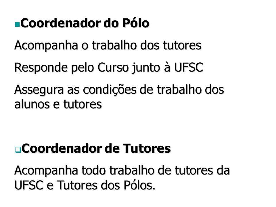 Coordenador do Pólo Coordenador do Pólo Acompanha o trabalho dos tutores Responde pelo Curso junto à UFSC Assegura as condições de trabalho dos alunos e tutores  Coordenador de Tutores Acompanha todo trabalho de tutores da UFSC e Tutores dos Pólos.