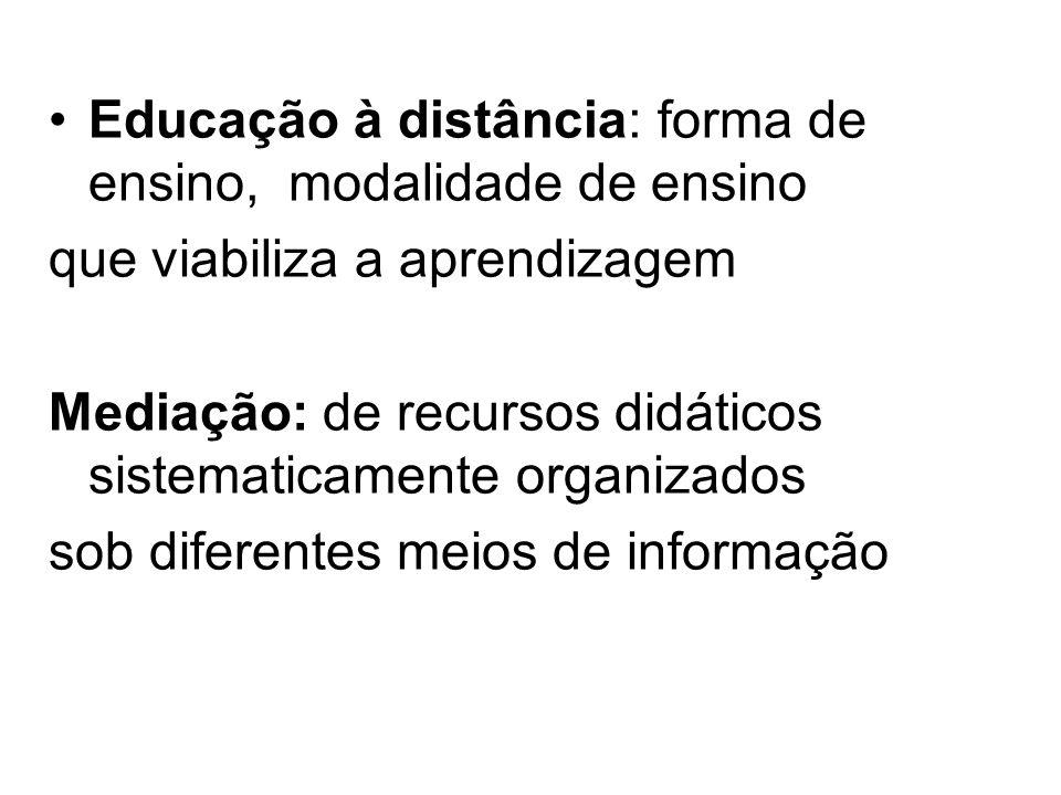 Educação à distância: forma de ensino, modalidade de ensino que viabiliza a aprendizagem Mediação: de recursos didáticos sistematicamente organizados sob diferentes meios de informação