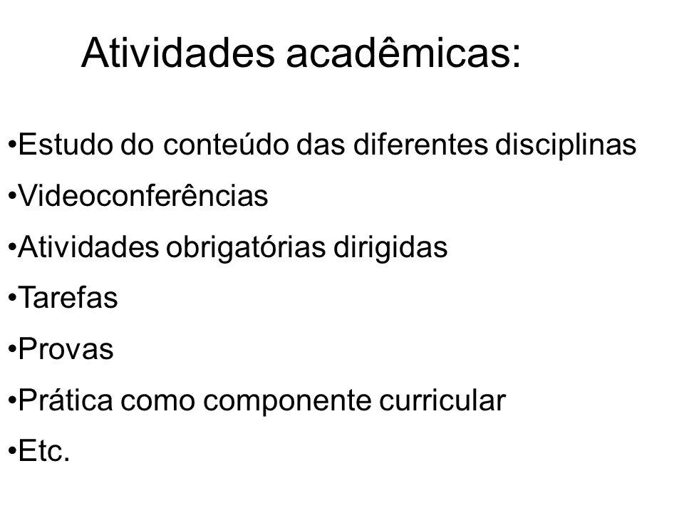 Atividades acadêmicas: Estudo do conteúdo das diferentes disciplinas Videoconferências Atividades obrigatórias dirigidas Tarefas Provas Prática como componente curricular Etc.