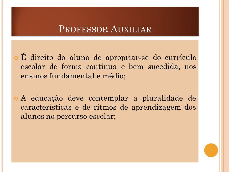 P ROFESSOR A UXILIAR É direito do aluno de apropriar-se do currículo escolar de forma contínua e bem sucedida, nos ensinos fundamental e médio; A educ