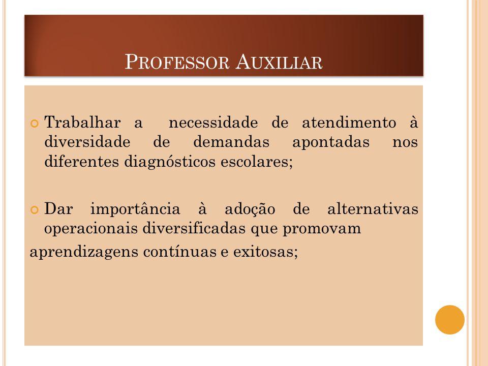 P ROFESSOR A UXILIAR Trabalhar a necessidade de atendimento à diversidade de demandas apontadas nos diferentes diagnósticos escolares; Dar importância