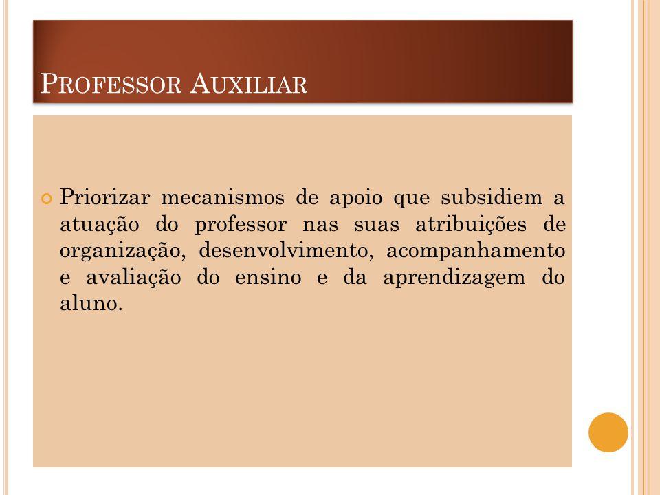 P ROFESSOR A UXILIAR Priorizar mecanismos de apoio que subsidiem a atuação do professor nas suas atribuições de organização, desenvolvimento, acompanh