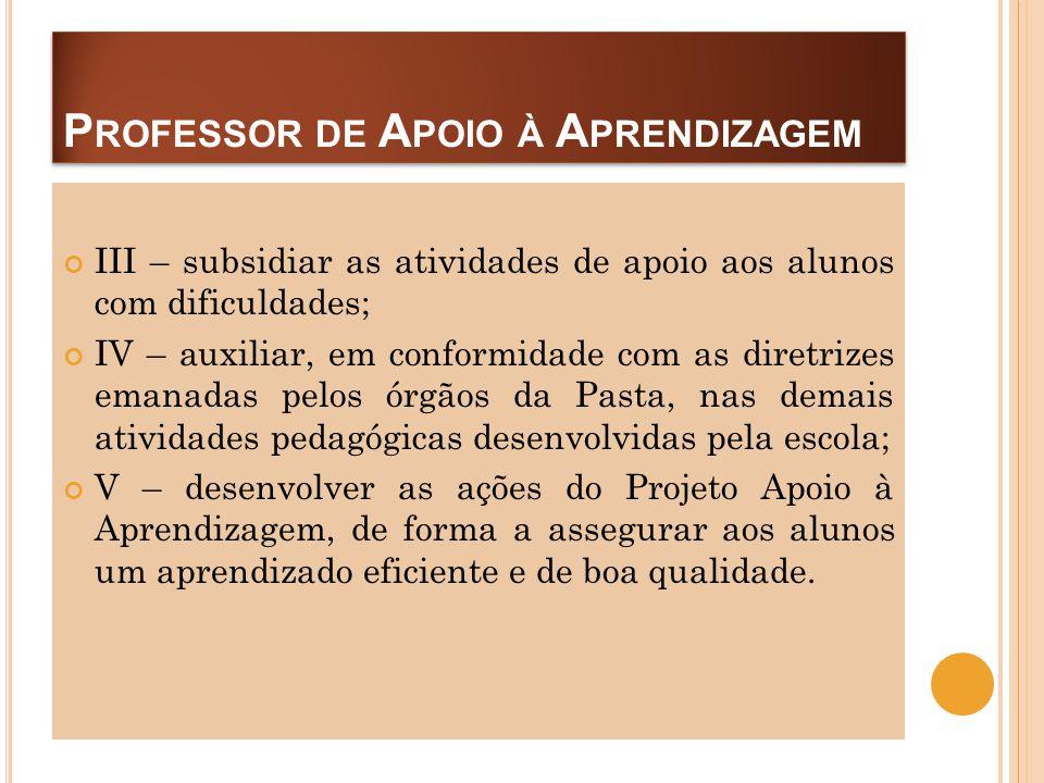 P ROFESSOR DE A POIO À A PRENDIZAGEM III – subsidiar as atividades de apoio aos alunos com dificuldades; IV – auxiliar, em conformidade com as diretri