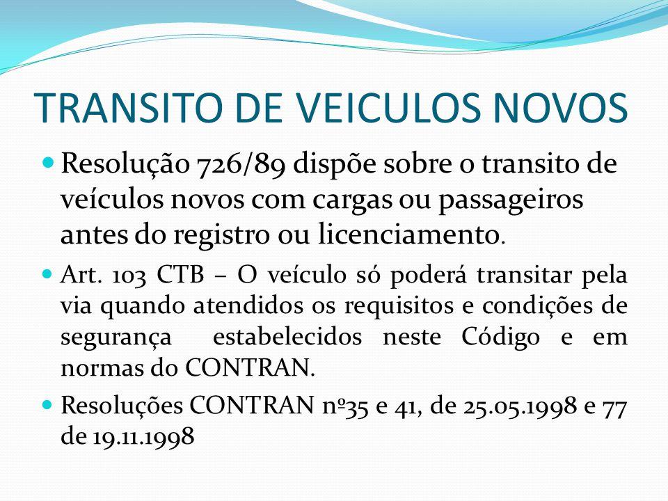 TRANSITO DE VEICULOS NOVOS Resolução 726/89 dispõe sobre o transito de veículos novos com cargas ou passageiros antes do registro ou licenciamento.