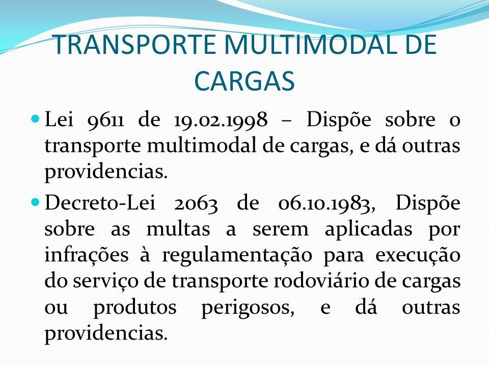 TRANSPORTE MULTIMODAL DE CARGAS Lei 9611 de 19.02.1998 – Dispõe sobre o transporte multimodal de cargas, e dá outras providencias.