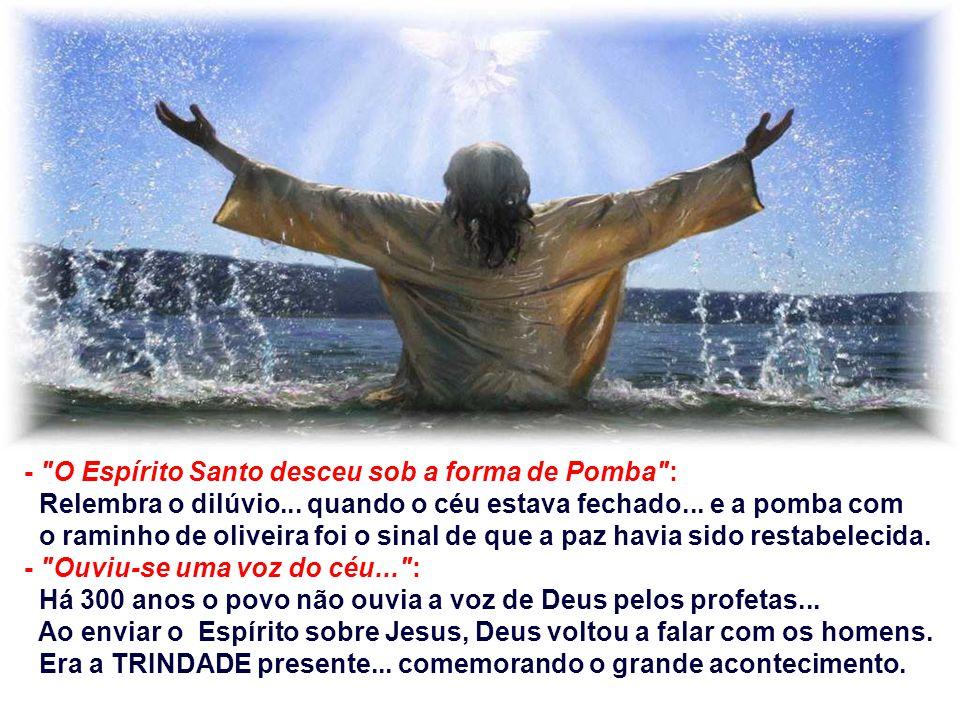 No Evangelho temos o Batismo de Jesus. Jesus aparece como o Filho enviado pelo Pai, sobre quem repousa o Espírito, e cuja missão é realizar a libertaç