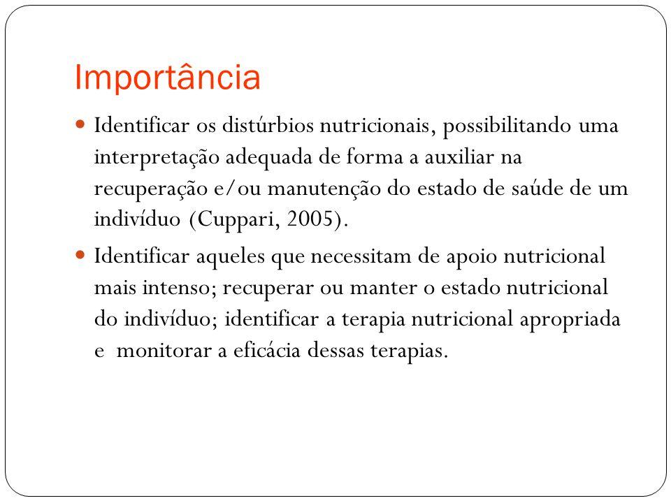 Importância Identificar os distúrbios nutricionais, possibilitando uma interpretação adequada de forma a auxiliar na recuperação e/ou manutenção do estado de saúde de um indivíduo (Cuppari, 2005).