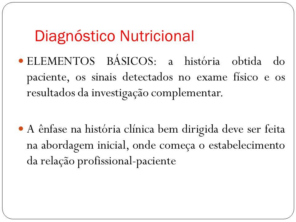 Diagnóstico Nutricional ELEMENTOS BÁSICOS: a história obtida do paciente, os sinais detectados no exame físico e os resultados da investigação complementar.