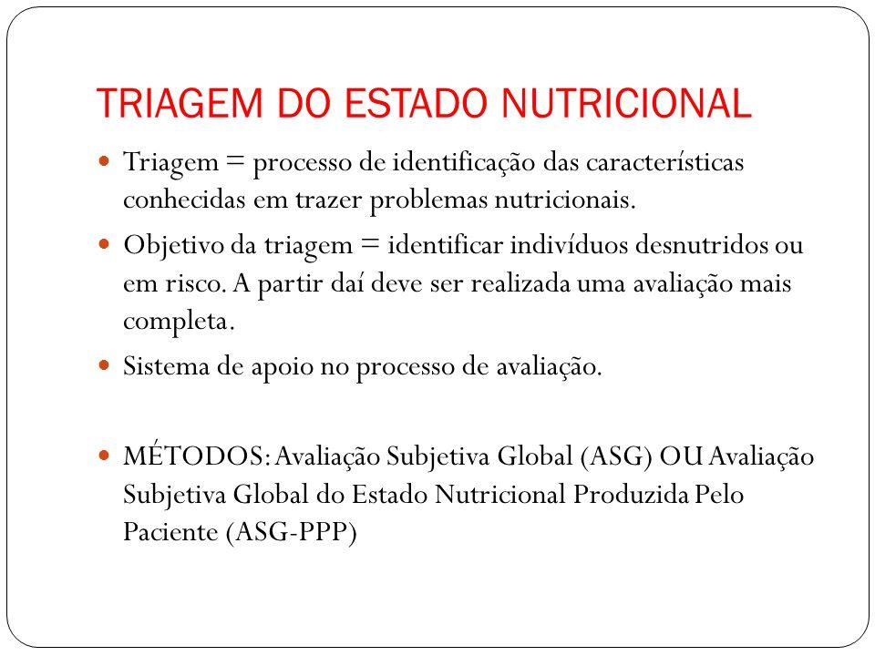 TRIAGEM DO ESTADO NUTRICIONAL Triagem = processo de identificação das características conhecidas em trazer problemas nutricionais.