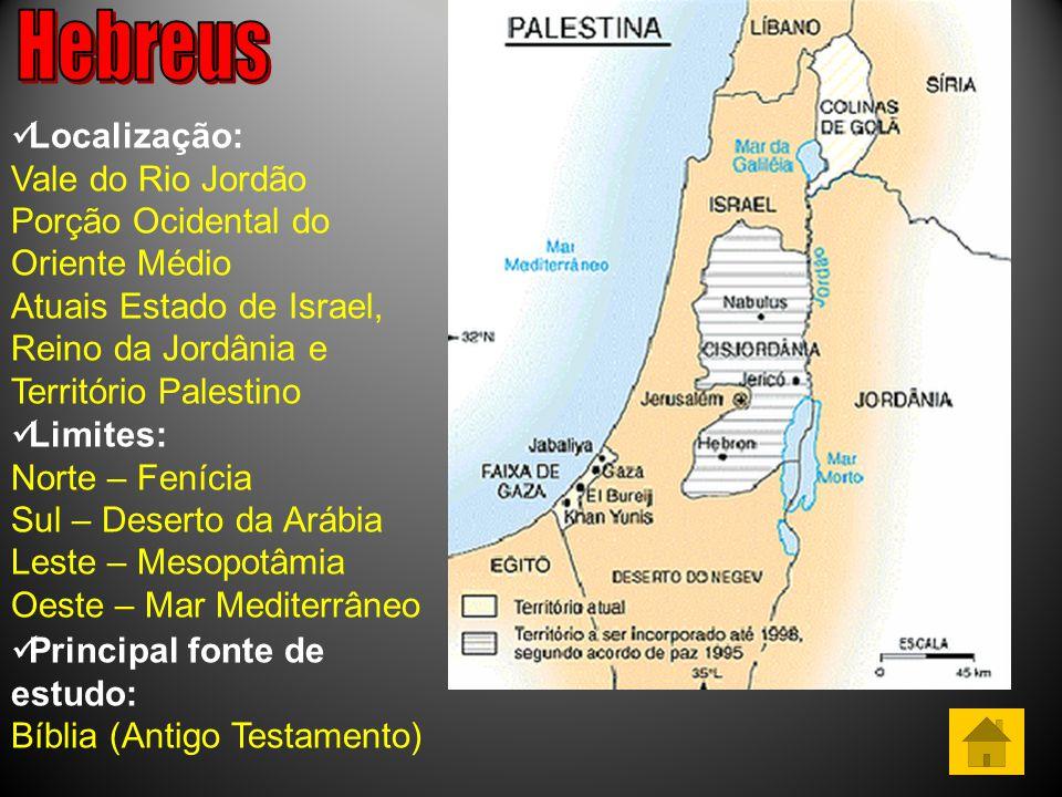 Localização: Vale do Rio Jordão Porção Ocidental do Oriente Médio Atuais Estado de Israel, Reino da Jordânia e Território Palestino Limites: Norte – Fenícia Sul – Deserto da Arábia Leste – Mesopotâmia Oeste – Mar Mediterrâneo Principal fonte de estudo: Bíblia (Antigo Testamento)