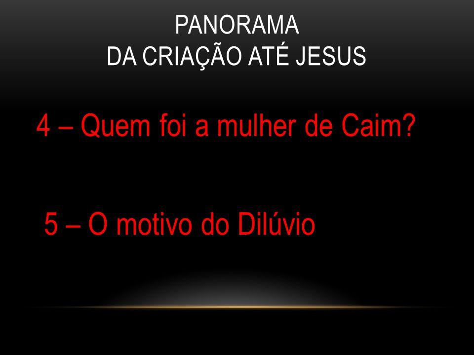 PANORAMA DA CRIAÇÃO ATÉ JESUS 4 – Quem foi a mulher de Caim? 5 – O motivo do Dilúvio
