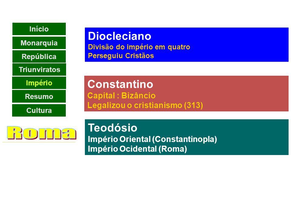 Crise Império No governo de Diocleciano, foi criada a Tetrarquia.