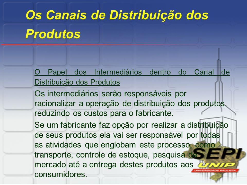 Os Canais de Distribuição dos Produtos O Papel dos Intermediários dentro do Canal de Distribuição dos Produtos Os intermediários serão responsáveis po