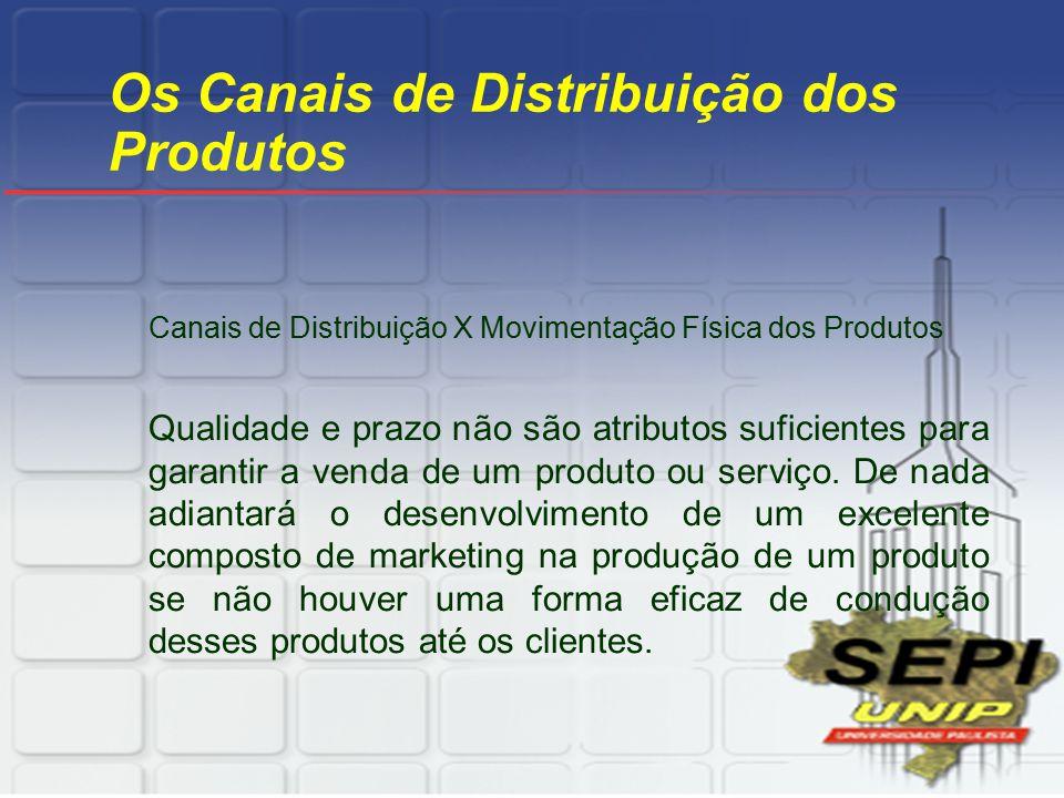 Os Canais de Distribuição dos Produtos Canais de Distribuição X Movimentação Física dos Produtos Qualidade e prazo não são atributos suficientes para