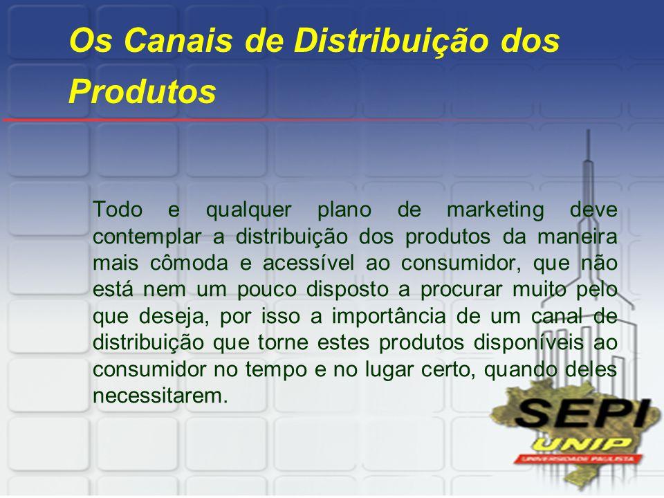 Os Canais de Distribuição dos Produtos Todo e qualquer plano de marketing deve contemplar a distribuição dos produtos da maneira mais cômoda e acessív