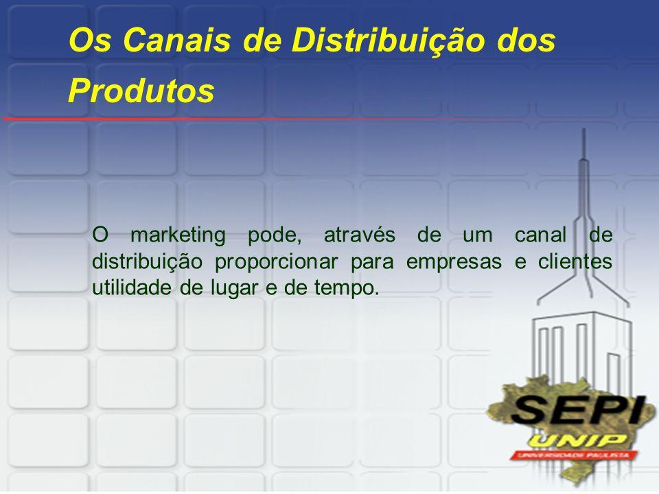 Os Canais de Distribuição dos Produtos O marketing pode, através de um canal de distribuição proporcionar para empresas e clientes utilidade de lugar