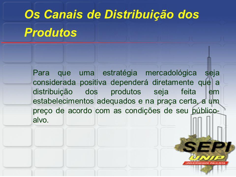 Os Canais de Distribuição dos Produtos Para que uma estratégia mercadológica seja considerada positiva dependerá diretamente que a distribuição dos pr