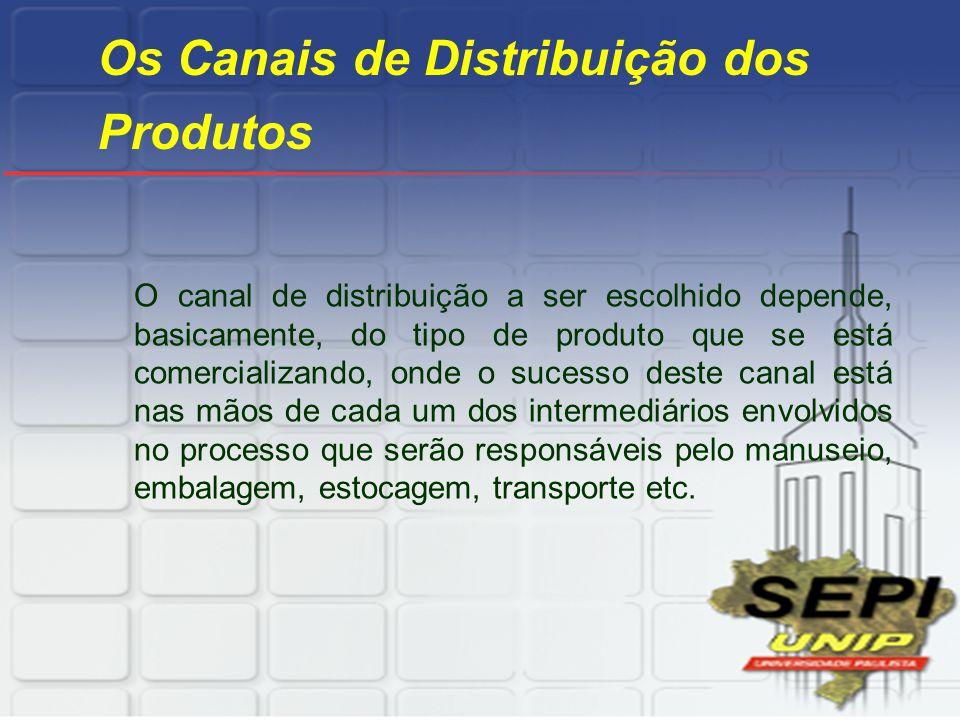 Os Canais de Distribuição dos Produtos O canal de distribuição a ser escolhido depende, basicamente, do tipo de produto que se está comercializando, o