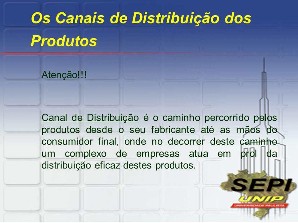 Os Canais de Distribuição dos Produtos Atenção!!! Canal de Distribuição é o caminho percorrido pelos produtos desde o seu fabricante até as mãos do co