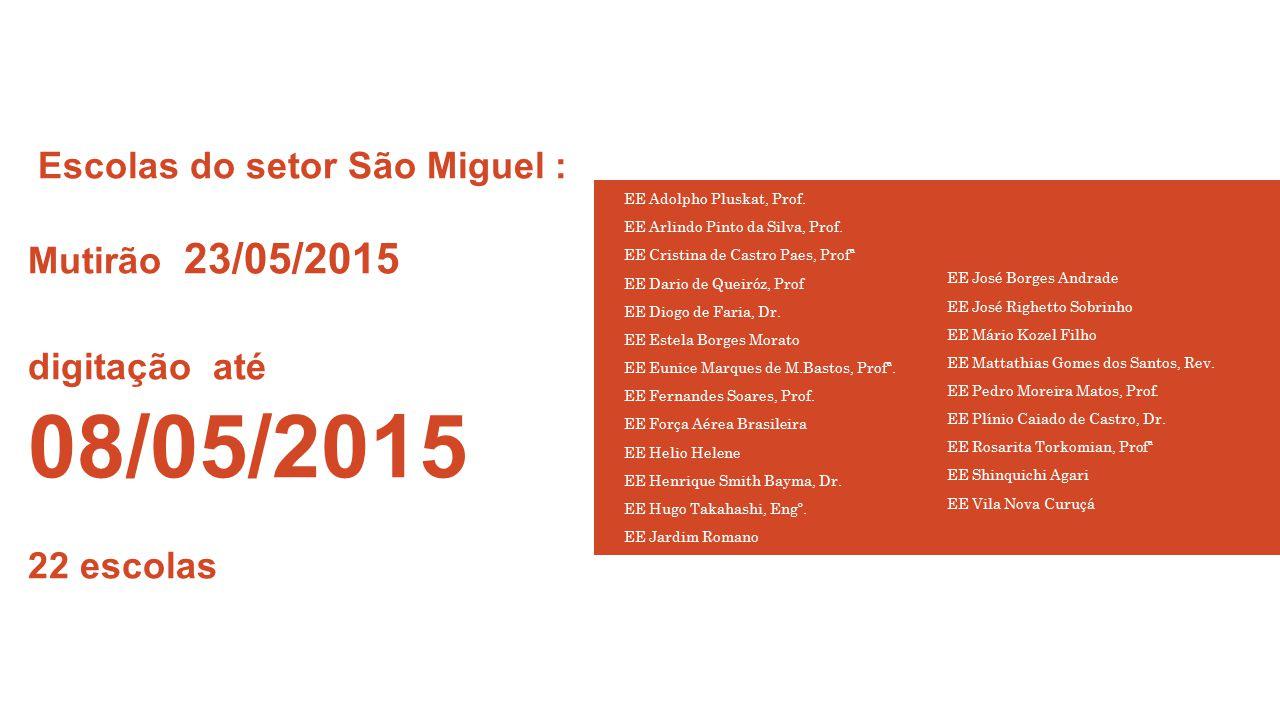 Escolas do setor São Miguel : Mutirão 23/05/2015 digitação até 08/05/2015 22 escolas EE Adolpho Pluskat, Prof. EE Arlindo Pinto da Silva, Prof. EE Cri