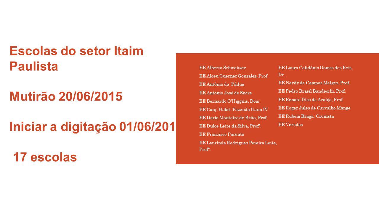 Escolas do setor Itaim Paulista Mutirão 20/06/2015 Iniciar a digitação 01/06/2015 17 escolas EE Alberto Schweitzer EE Alceu Guerner Gonzalez, Prof. EE