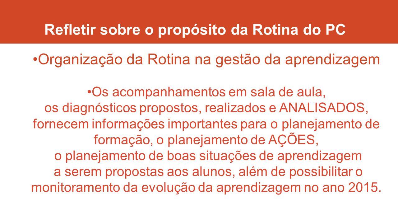 Refletir sobre o propósito da Rotina do PC Organização da Rotina na gestão da aprendizagem Os acompanhamentos em sala de aula, os diagnósticos propost