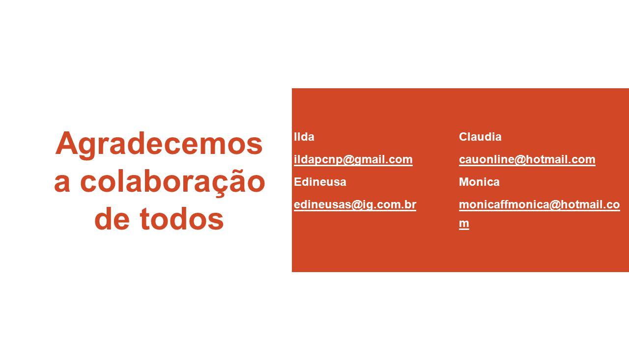 Agradecemos a colaboração de todos Ilda ildapcnp@gmail.com Edineusa edineusas@ig.com.br Claudia cauonline@hotmail.com Monica monicaffmonica@hotmail.co