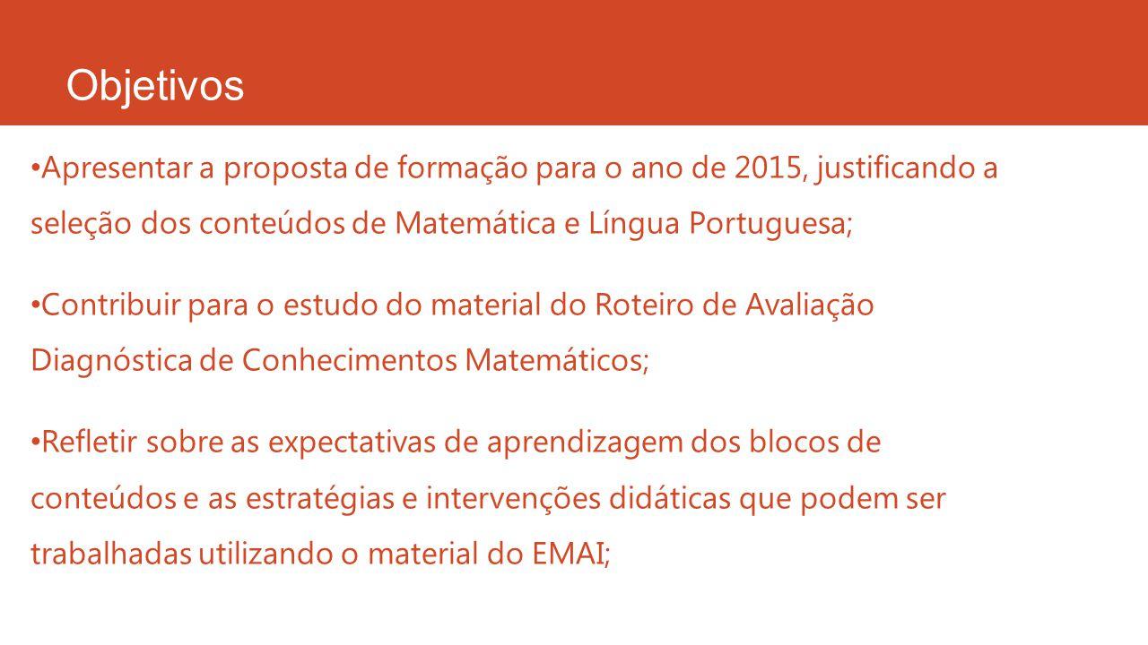 Objetivos Apresentar a proposta de formação para o ano de 2015, justificando a seleção dos conteúdos de Matemática e Língua Portuguesa; Contribuir par