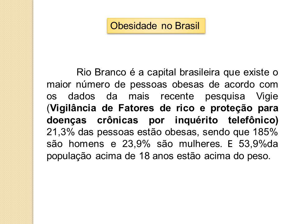Obesidade no Brasil Rio Branco é a capital brasileira que existe o maior número de pessoas obesas de acordo com os dados da mais recente pesquisa Vigi