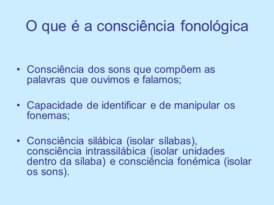 O que é a consciência fonológica Consciência dos sons que compõem as palavras que ouvimos e falamos; Capacidade de identificar e de manipular os fonem