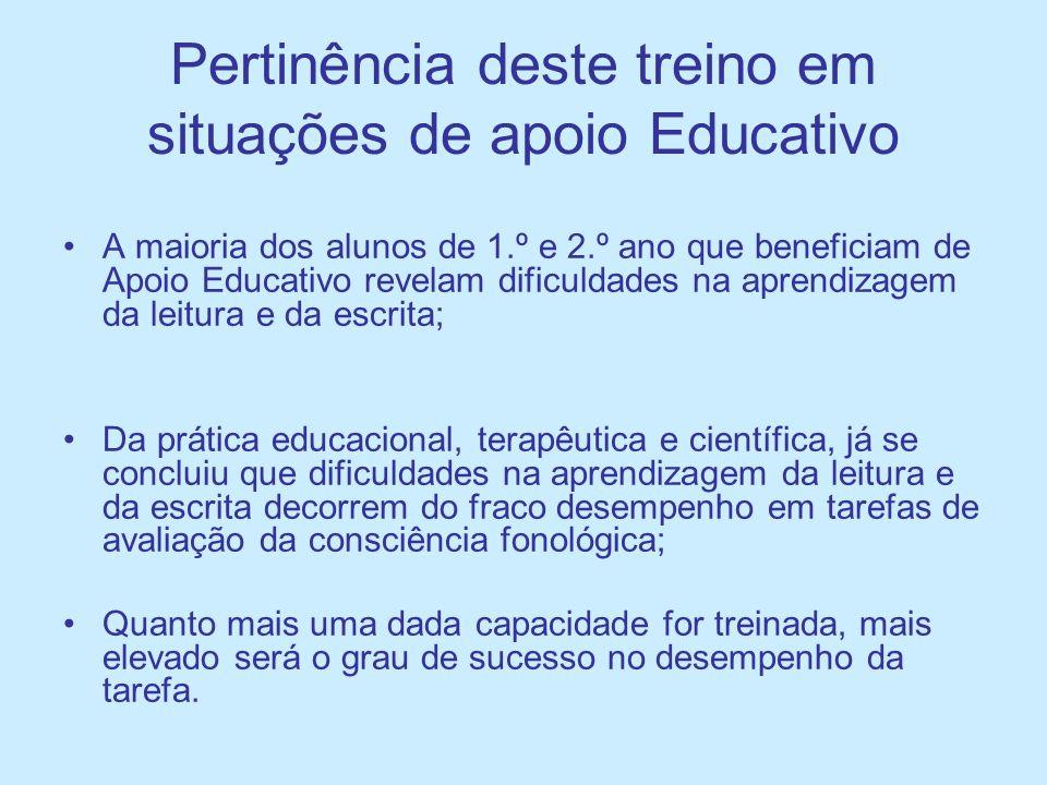 Pertinência deste treino em situações de apoio Educativo A maioria dos alunos de 1.º e 2.º ano que beneficiam de Apoio Educativo revelam dificuldades