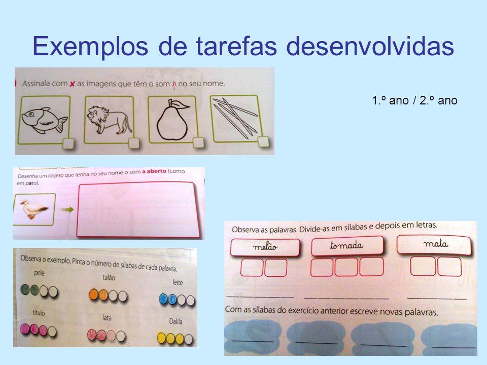 Exemplos de tarefas desenvolvidas 1.º ano / 2.º ano