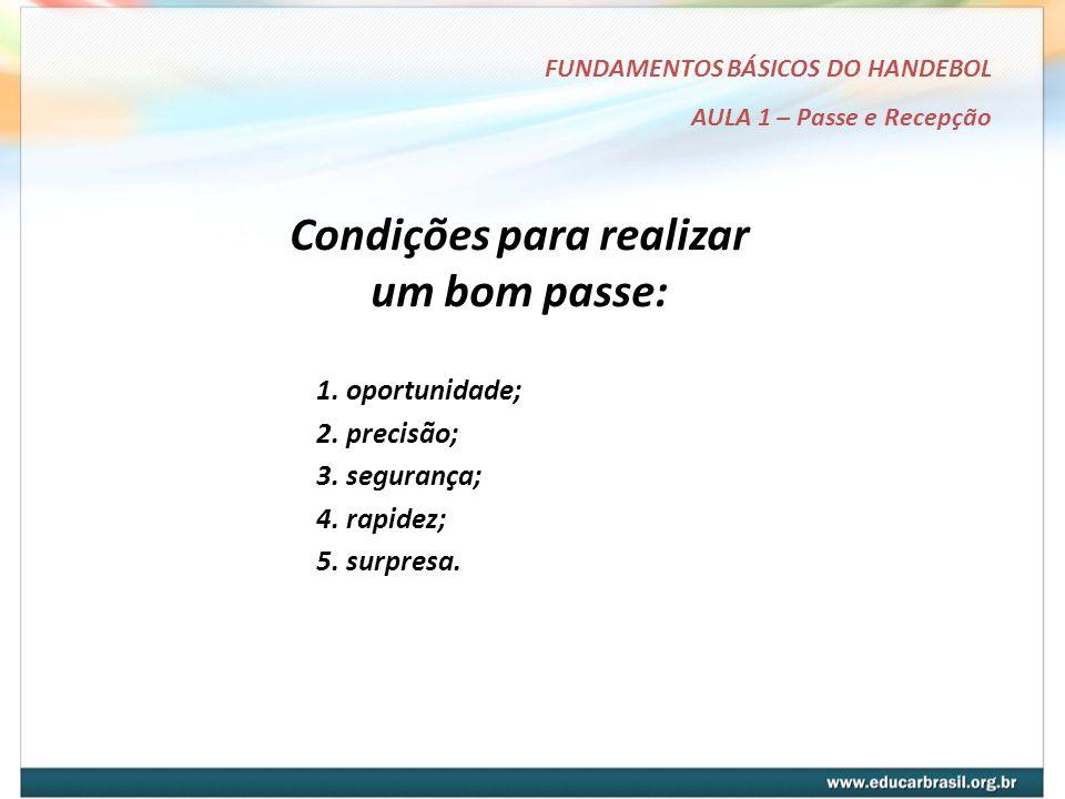 FUNDAMENTOS BÁSICOS DO HANDEBOL AULA 1 – Passe e Recepção Condições para realizar um bom passe: 1.