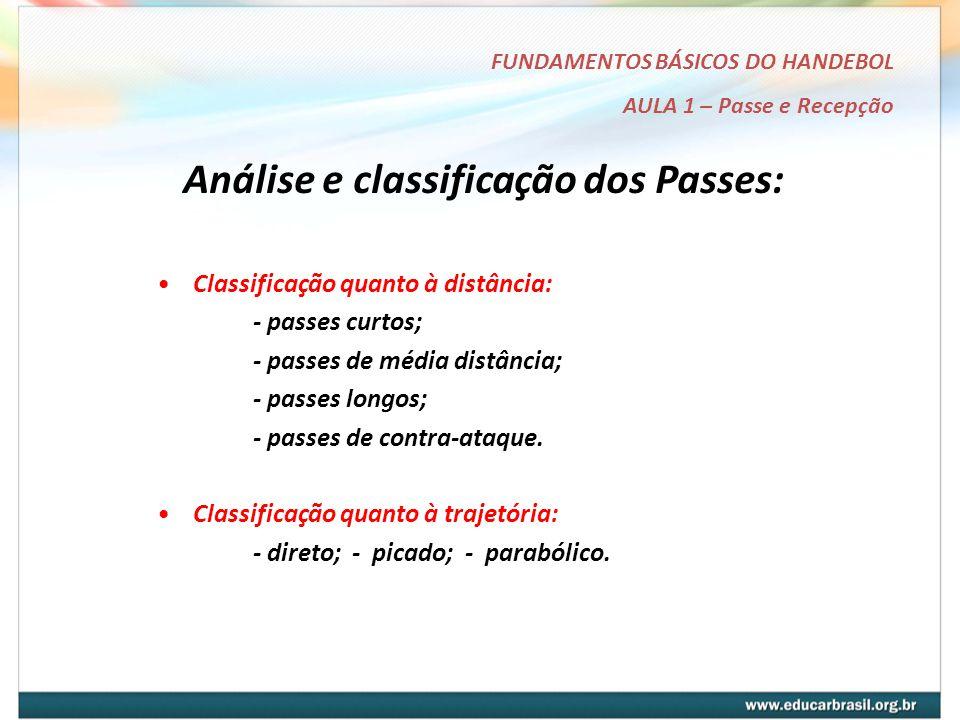Análise e classificação dos Passes: FUNDAMENTOS BÁSICOS DO HANDEBOL AULA 1 – Passe e Recepção Classificação quanto à distância: - passes curtos; - passes de média distância; - passes longos; - passes de contra-ataque.