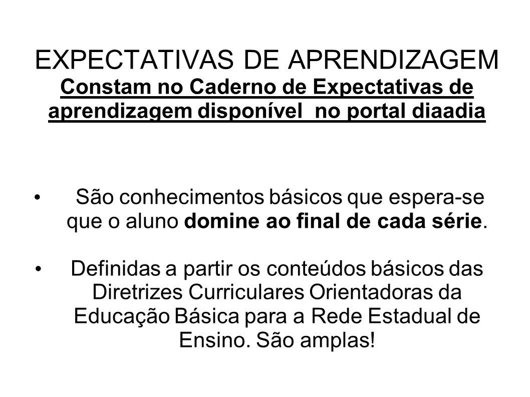 EXPECTATIVAS DE APRENDIZAGEM Constam no Caderno de Expectativas de aprendizagem disponível no portal diaadia São conhecimentos básicos que espera-se q