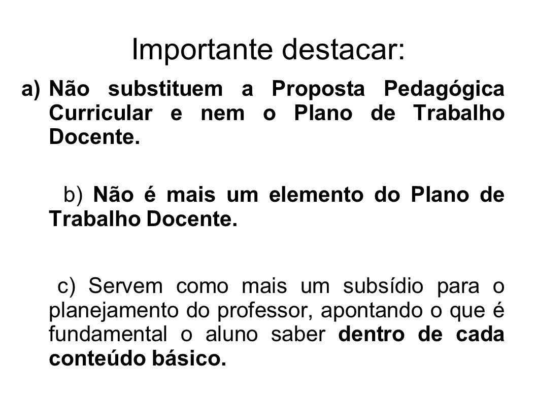 Importante destacar: a)Não substituem a Proposta Pedagógica Curricular e nem o Plano de Trabalho Docente. b) Não é mais um elemento do Plano de Trabal