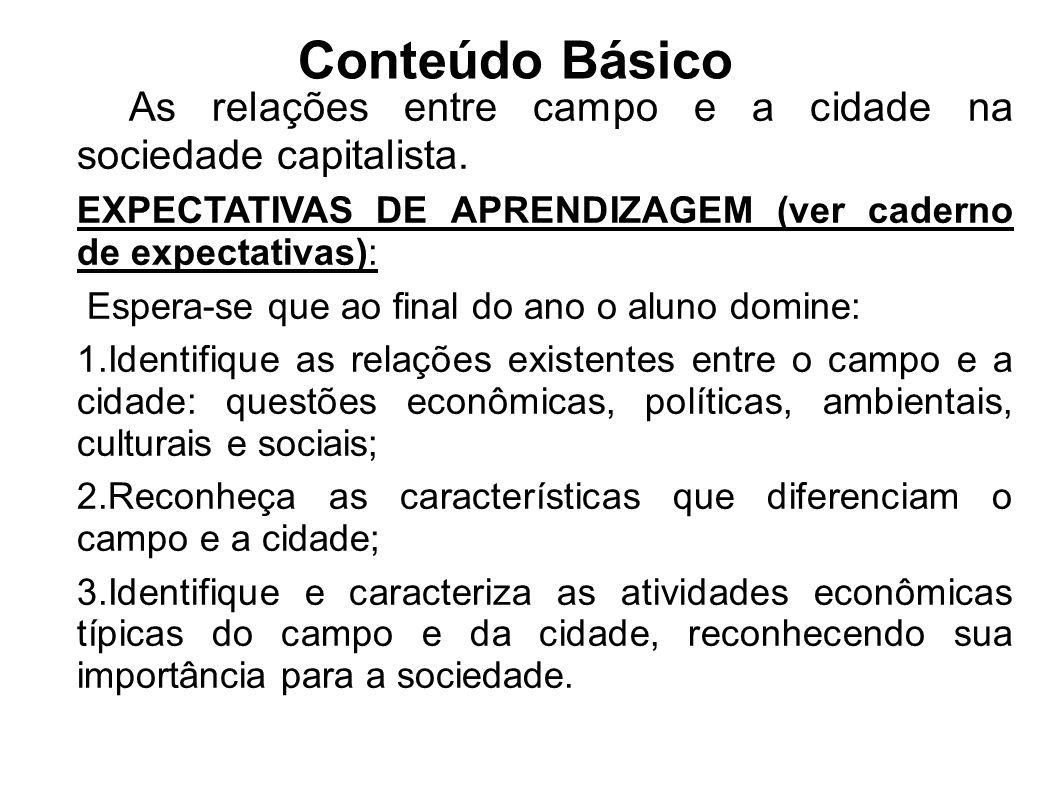 Conteúdo Básico As relações entre campo e a cidade na sociedade capitalista. EXPECTATIVAS DE APRENDIZAGEM (ver caderno de expectativas): Espera-se que