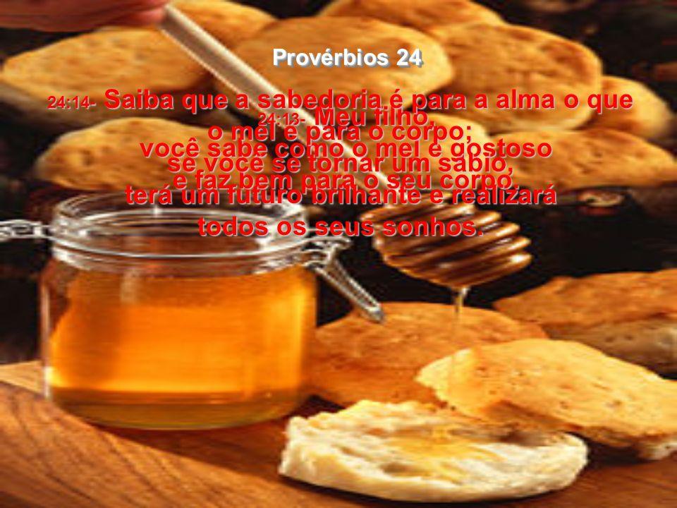 24:13- Meu filho, você sabe como o mel é gostoso e faz bem para o seu corpo.