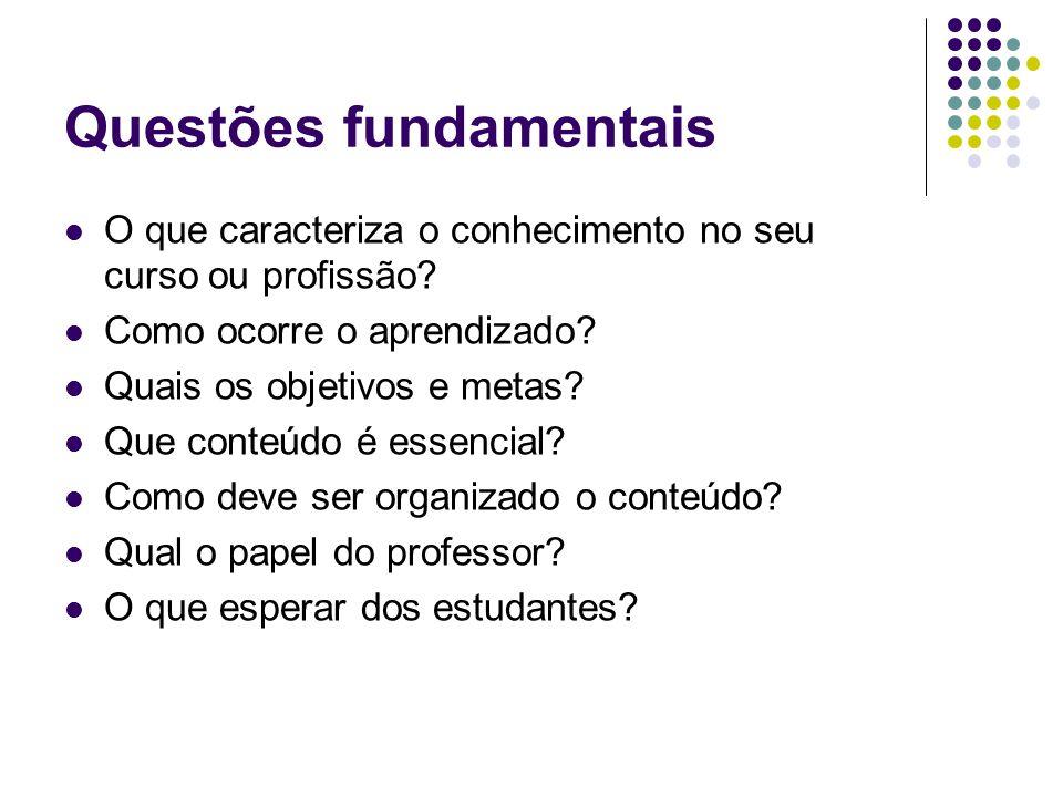 Questões fundamentais O que caracteriza o conhecimento no seu curso ou profissão? Como ocorre o aprendizado? Quais os objetivos e metas? Que conteúdo