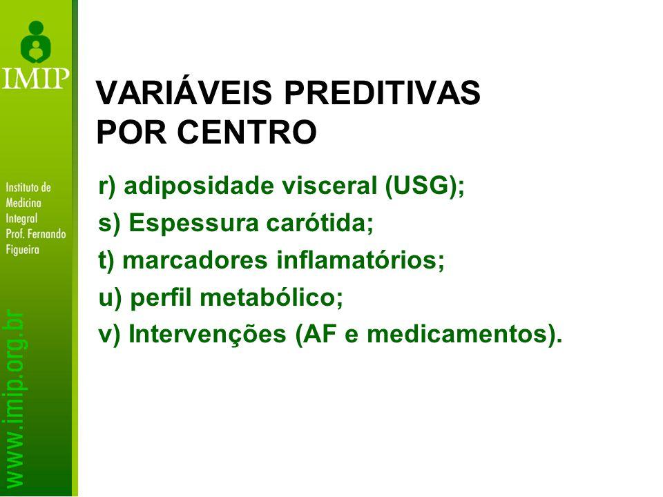 r) adiposidade visceral (USG); s) Espessura carótida; t) marcadores inflamatórios; u) perfil metabólico; v) Intervenções (AF e medicamentos). VARIÁVEI