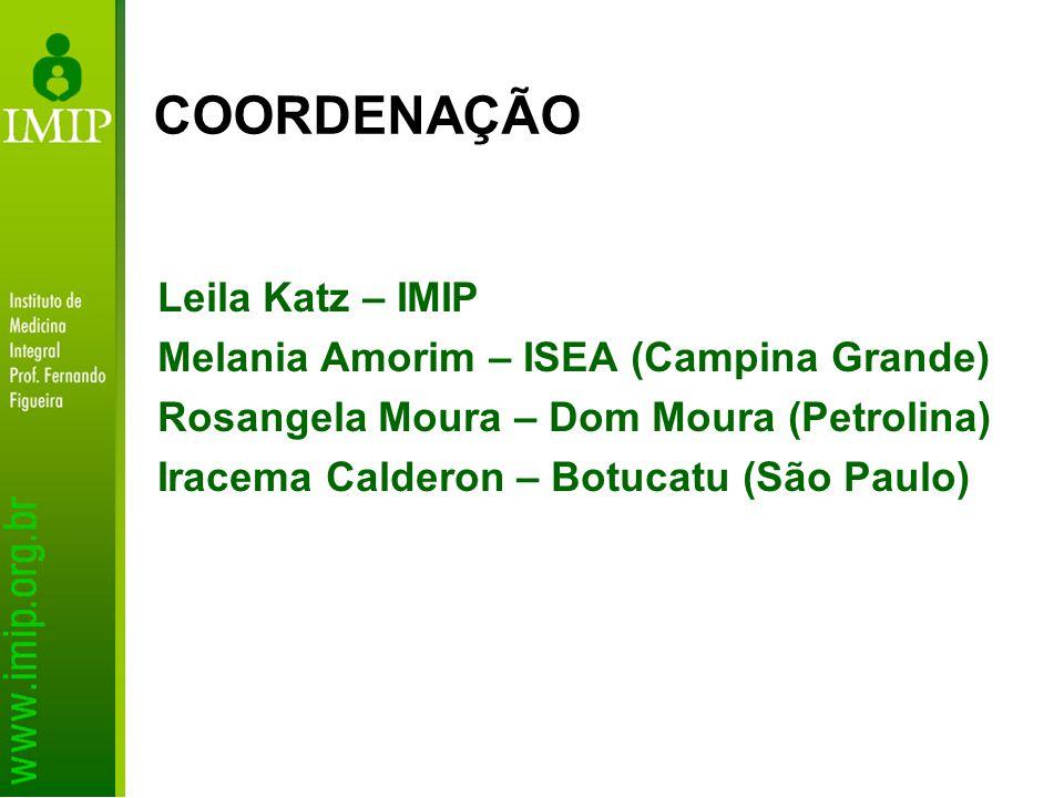 Leila Katz – IMIP Melania Amorim – ISEA (Campina Grande) Rosangela Moura – Dom Moura (Petrolina) Iracema Calderon – Botucatu (São Paulo) COORDENAÇÃO