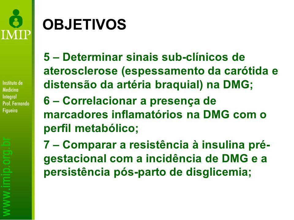 8 - Avaliar os resultados maternos e perinatais associados à Síndrome Metabólica em gestantes; 9 – Verificar de forma randomizada, a eficácia de intervenções com programas de atividade física e controle de peso nas gestantes com DMG; 10 - Determinar a prevalência do grupo IB de Rudge em centros brasileiros e a eficácia do tratamento neste grupo de gestantes; OBJETIVOS