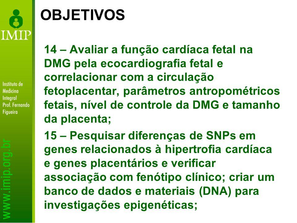 14 – Avaliar a função cardíaca fetal na DMG pela ecocardiografia fetal e correlacionar com a circulação fetoplacentar, parâmetros antropométricos feta