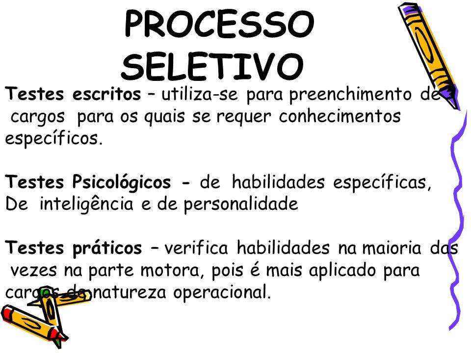 PROCESSO SELETIVO Testes escritos – utiliza-se para preenchimento de cargos para os quais se requer conhecimentos específicos.